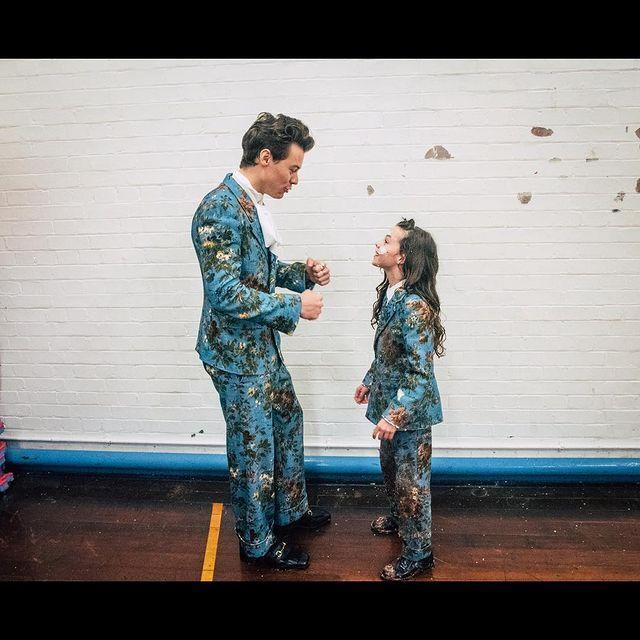 """<p>Gucci again, on both Harry and Beau Gadsdon, the little girl who played the main character in the """"Kiwi"""" video. We love a twinning moment!</p><p><a href=""""https://www.instagram.com/p/BbPEpWjj4j5/"""" rel=""""nofollow noopener"""" target=""""_blank"""" data-ylk=""""slk:See the original post on Instagram"""" class=""""link rapid-noclick-resp"""">See the original post on Instagram</a></p>"""