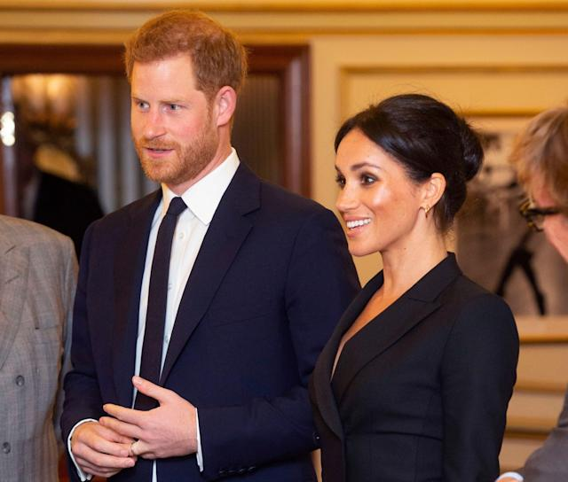 Prince Harry and Meghan Markle arrive at the Victoria Albert Theatre. [Photo:Rex]