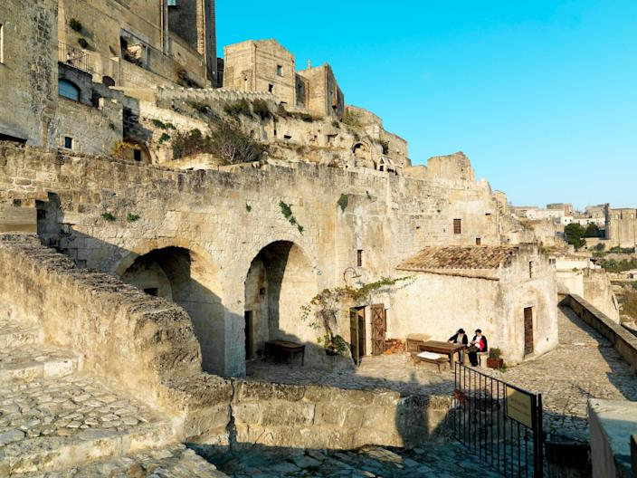 Outside Sextantio The Grotto della Civita, converted from 9,000 year old stone structures.