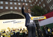 Budapest mayor Gergely Karacsony, one of the frontrunners in a race to unseat Hungary's Prime Minister Viktor Orban, holding a campaign event in Budapestt, Hungary on Sept. 17, 2021. The rally marked the start of a primary election that will choose a joint opposition candidate to face off with Hungary's hardline leader in polls next year. (AP Photo/Bela Szandelszky)