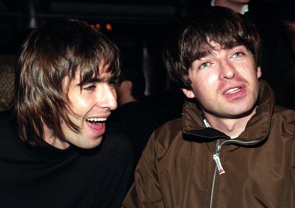 Oasis stars Liam and Noel Gallagher pictured at the Q Magazine music awards in London. Oasis frontman Liam received the Best Act in the World trophy on behalf of the band at the 10th anniversary of the awards.   (Photo by Fiona Hanson - PA Images/PA Images via Getty Images)