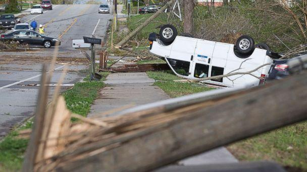 PHOTO: Damage lines Phillips Avenue the day after a tornado hit, leaving devastation throughout the eastern portion of the city, April 16, 2018, in Greensboro, N.C. (Joseph Rodriguez/News & Record via AP)