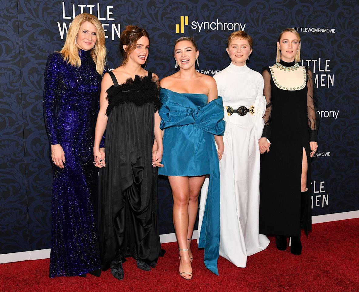 """<p>Pictured: Laura Dern, <a class=""""sugar-inline-link ga-track"""" title=""""Latest photos and news for Emma Watson"""" href=""""https://www.popsugar.co.uk/Emma-Watson"""" target=""""_blank"""" data-ga-category=""""Related"""" data-ga-label=""""https://www.popsugar.co.uk/Emma-Watson"""" data-ga-action=""""&lt;-related-&gt; Links"""">Emma Watson</a>, Florence Pugh, Eliza Scanlen, and Saoirse Ronan at the <strong>Little Women</strong> world premiere. </p>"""