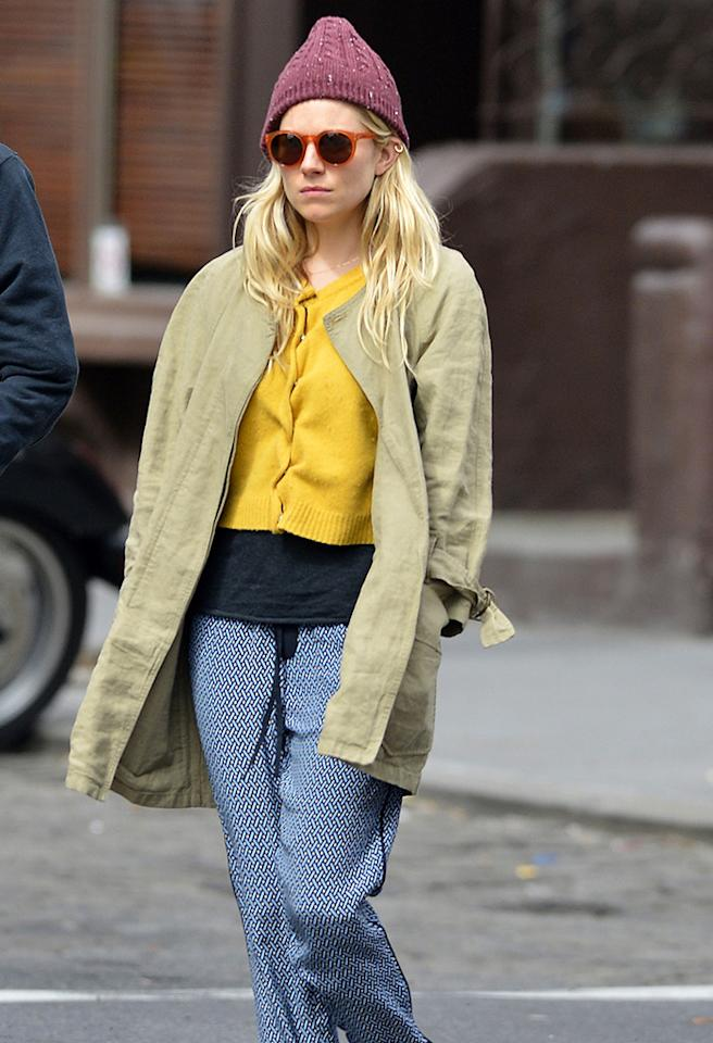 According to Sienna Miller, hobo-chic is all the rage. (3/28/2013)