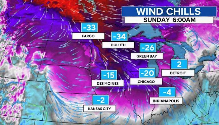 A forecast of the wind chills for the weekend. / Credit: CBS News