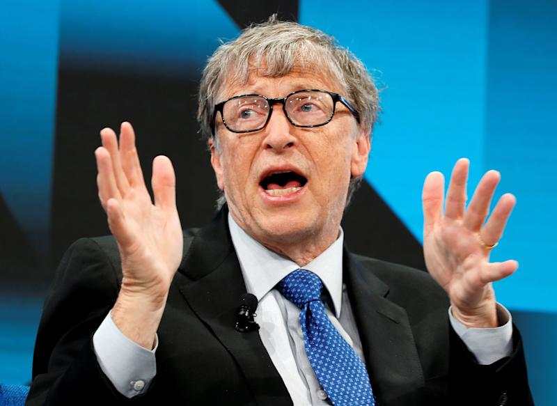 Bill Gates, Co-Chair of Bill & Melinda Gates Foundation, gestures as he speaks during the World Economic Forum (WEF) annual meeting in Davos, Switzerland, January 22, 2019. REUTERS/Arnd Wiegmann