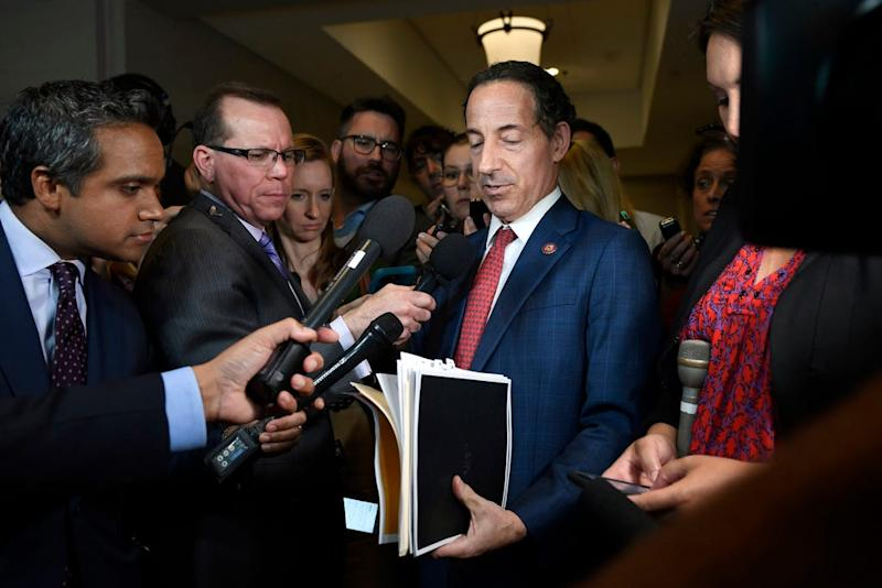 Rep. Jamie Raskin, D-Md., holds up documents as he talks with reporters on Capitol Hill in Washington, Wednesday, Oct. 2, 2019.