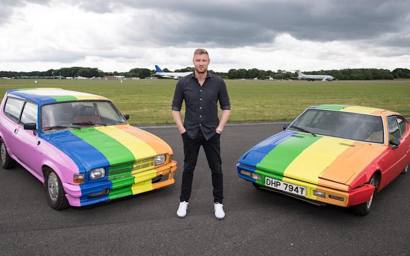 Andrew Flintoff with the spray-painted cars - Jeff Spicer