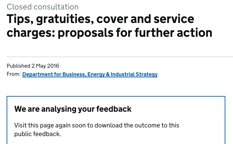 The government has still not responded to its own consultation three years on. Photo: UK government website / Screenshot