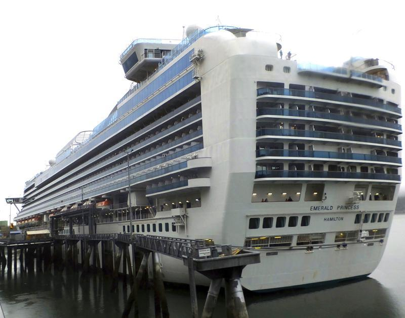 This July 26, 2017 file photo shows the Emerald Princess cruise ship docked in Juneau, Alaska. Source: AP Photo/Becky Bohrer