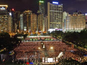 FILE-In this June 4, 2005, file photo, thousands of people attend a candlelight vigil in Hong Kong's Victoria Park to mark the 16th anniversary of the military crackdown on a pro-democracy student movement in Beijing. (AP Photo/Vincent Yu)