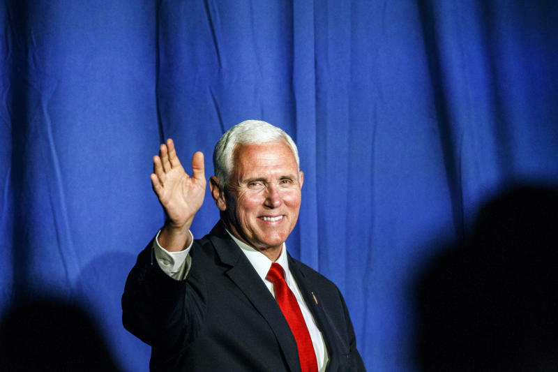 Vice President Mike Pence speaks at the Republican Party of Pennsylvania state dinner at the Radisson Hotel Harrisburg in Camp Hill, Pa., June 6, 2019.  (Dan Gleiter/The Patriot-News via AP)