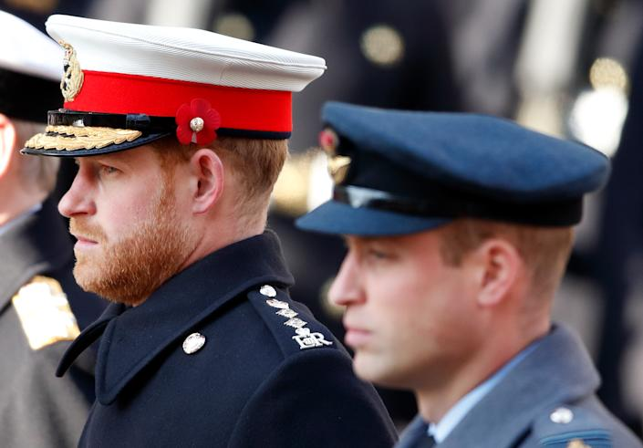 Prince Harry hinted at a rift with brother William last year, saying they were on different paths. Seen here in November 2019. (Getty Images)