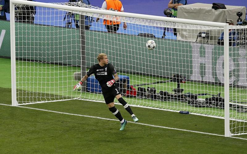 The ball creeps into the net after a blunder by Karius (AP)