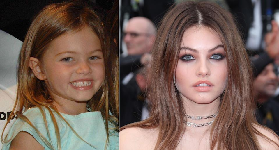 Thylane Blondeau pictured in 2005 and earlier this year at the Cannes Film Festival (Rex)