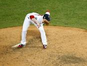 Oct 23, 2018; Boston, MA, USA; Boston Red Sox relief pitcher Craig Kimbrel (46) pitches against the Los Angeles Dodgers during the ninth inning in game one of the 2018 World Series at Fenway Park. Mandatory Credit: Greg M. Cooper-USA TODAY Sports