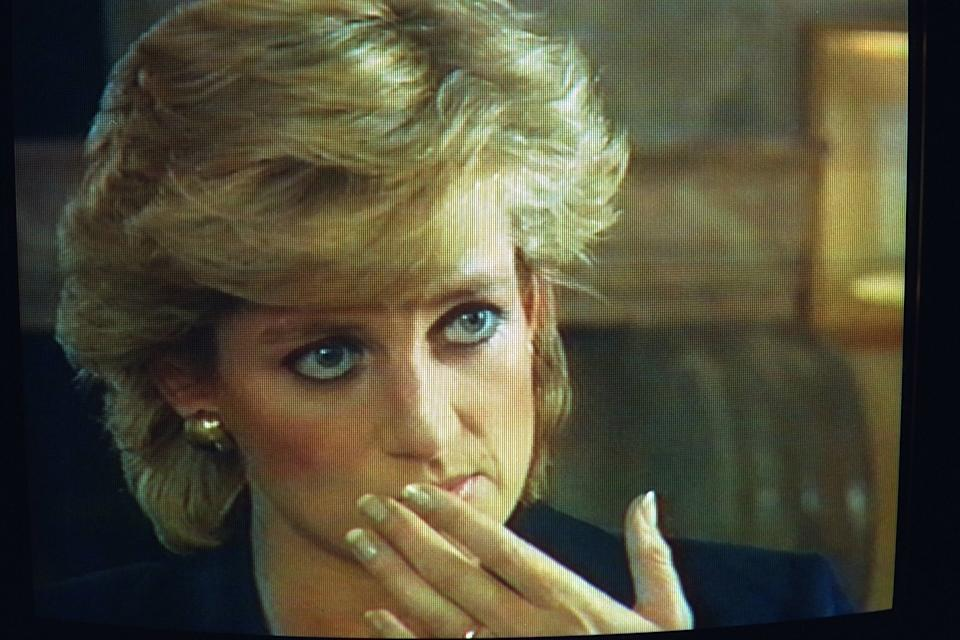 TV PICTURES OF LADY DIANA BEING INTERVIEWED BY THE B.B.C.