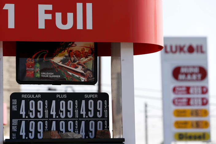 Prices listings for gas are seen at $4.99 at a LukOil station, Wednesday, Sept. 12, 2012, in Newark, N.J. More than 50 LukOil franchise owners plan to raise their prices to more than $8 a gallon on Wednesday to protest what they say is the company's unjustified pricing policies. (AP Photo/Julio Cortez)