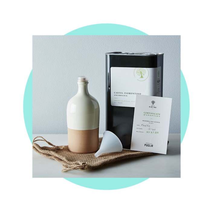 """$175, Food52. <a href=""""https://food52.com/shop/products/2966-adopt-an-olive-tree-gift-box-subscription?"""" rel=""""nofollow noopener"""" target=""""_blank"""" data-ylk=""""slk:Get it now!"""" class=""""link rapid-noclick-resp"""">Get it now!</a>"""