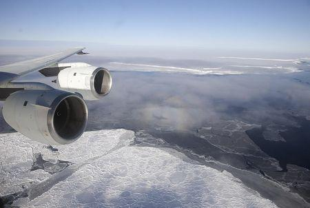NASA's DC-8 flies over the Brunt Ice Shelf in Antarctica October 26, 2010 in this handout photo provided by NASA, March 26, 2015. REUTERS/Michael Studinger/ NASA/handout via Reuters