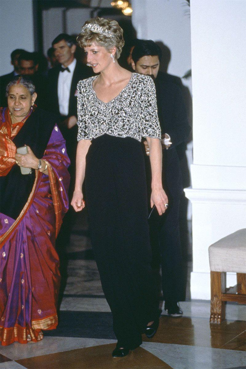 <p>In a gown by Catherine Walker and the Spencer Tiara while attending an event in Delhi.</p>