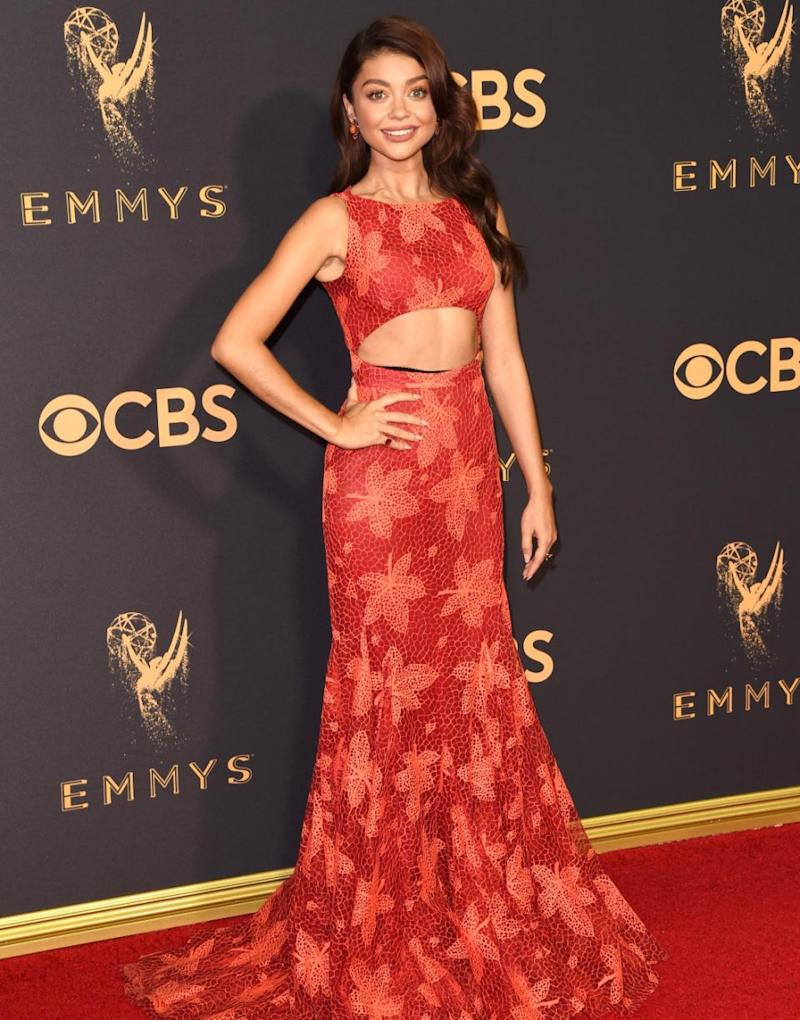 The star wore a Zac Posen gown to the Emmy Awards. Source: Getty