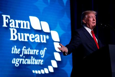 FILE PHOTO: U.S. President Donald Trump delivers remarks at the American Farm Bureau Federation convention in Nashville, Tennessee, U.S., January 8, 2018. REUTERS/Jonathan Ernst/File Photo