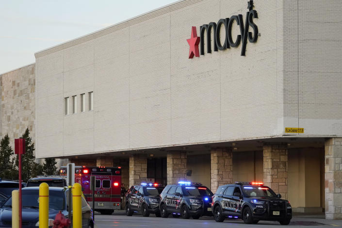 Police investigate a shooting at the Mayfair Mall, Friday, Nov. 20, 2020, in Wauwatosa, Wis. Multiple people were shot Friday afternoon at the mall and police are still searching for the shooter. (AP Photo/Nam Y. Huh)