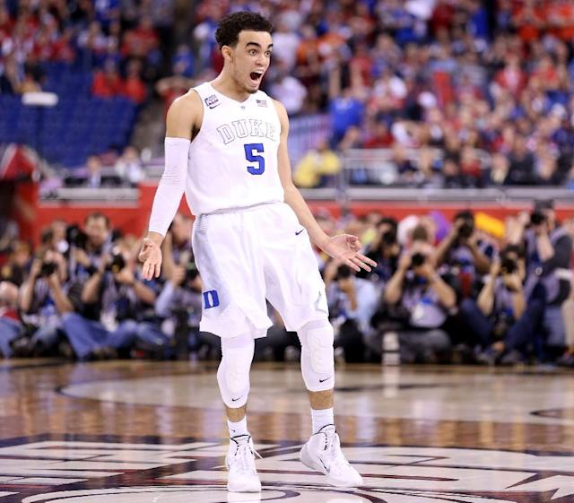 Tyus Jones of the Duke Blue Devils reacts after a three point basket late in the second half against the Wisconsin Badgers on April 6, 2015 in Indianapolis, Indiana (AFP Photo/Andy Lyons)