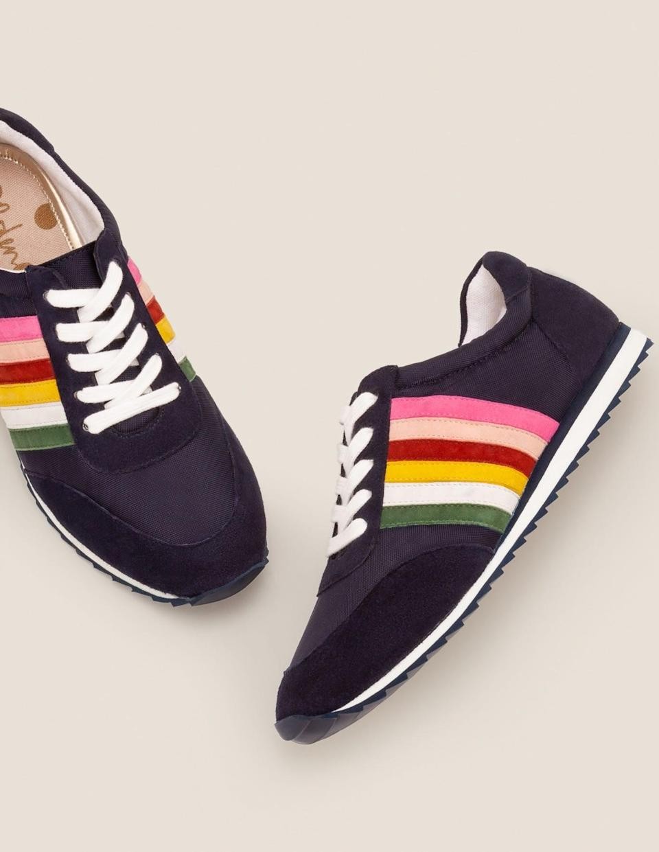 <p>We love the color scheme of these <span>Boden Striped Sneakers</span> ($130).</p>