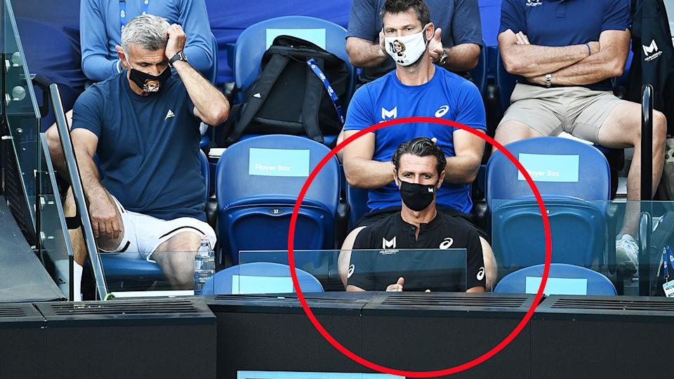 Patrick Mouratoglou, pictured here in Stefanos Tsitsipas' box during his clash with Rafael Nadal.