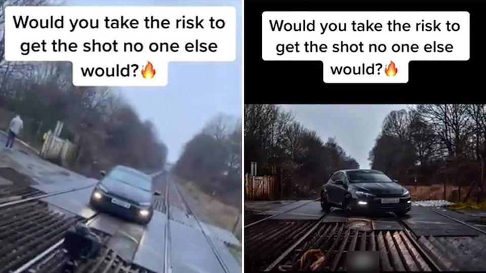 Authorities have launched an investigation, after a TikTok video of a car being photographed on railway tracks was brought to their attention. Source: Twitter/GLRailways