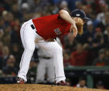Boston Red Sox relief pitcher Craig Kimbrel throws against the New York Yankees during the eighth inning of Game 1 of a baseball American League Division Series on Friday, Oct. 5, 2018, in Boston. (AP Photo/Elise Amendola)