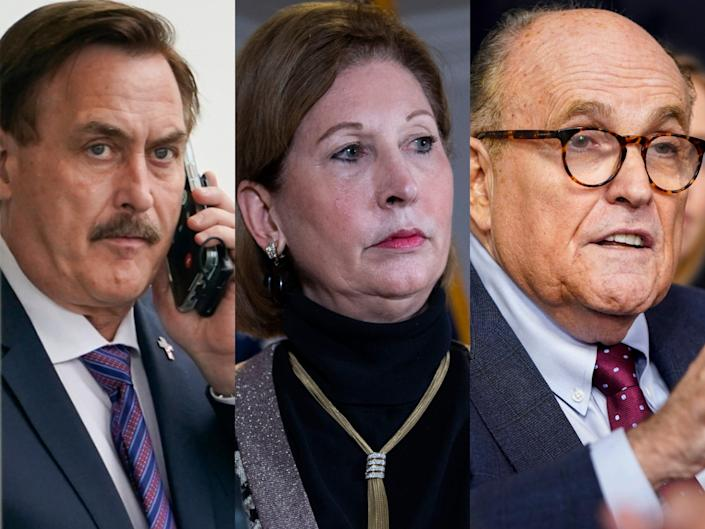 Three side-by-side images of MyPillow CEO Mike Lindell, Sidney Powell, and Rudy Giuliani.