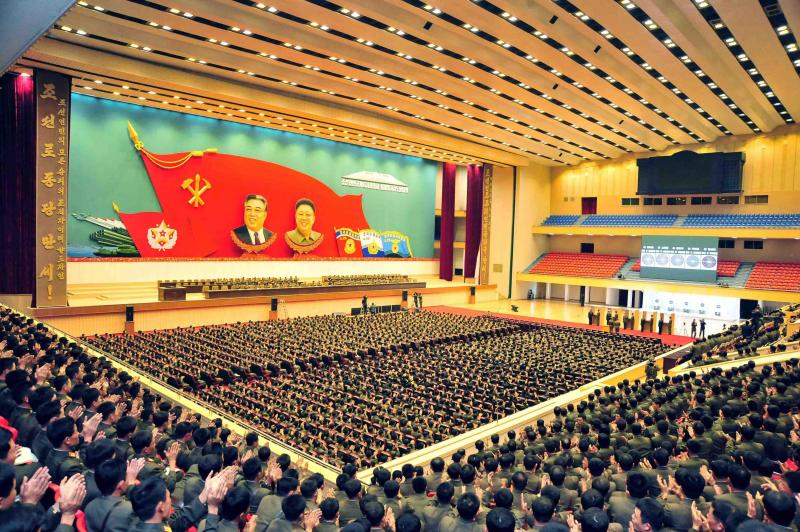 North Korean leader Kim Jong Un speaks during the 4th meeting of the company commanders and political instructors of the KPA