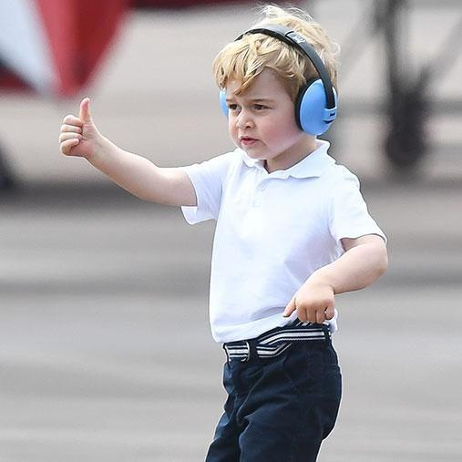 Thumbs up from the little royal. Photo: Getty