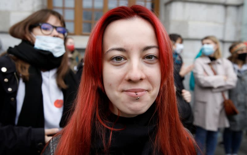 Rutkowska, takes part in a protest against the ruling by Poland's Constitutional Tribunal that imposes a near-total ban on abortion in Warsaw