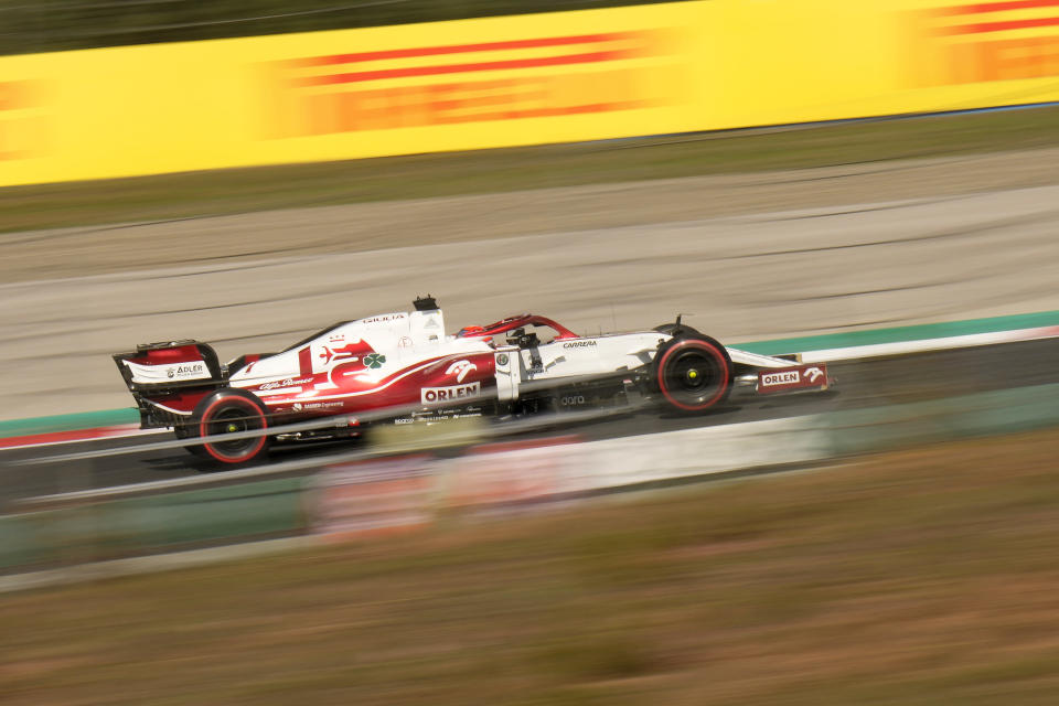 Alfa Romeo driver Kimi Raikkonen of Finland steers his car during the first practice session ahead of Sunday's Formula One Turkish Grand Prix at the Intercity Istanbul Park circuit in Istanbul, Turkey, Friday, Oct. 8, 2021.(AP Photo/Francisco Seco)