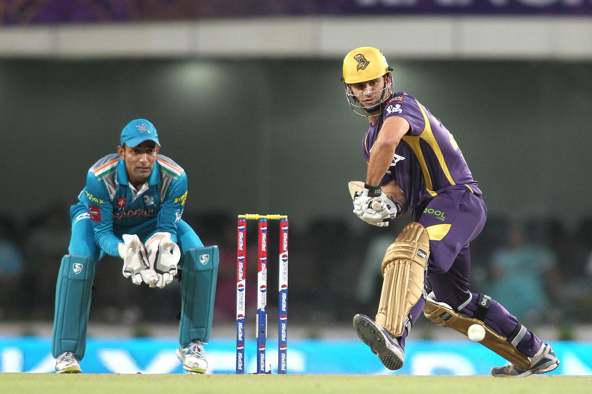 Ryan ten Doeschate of Kolkata Knight Riders comes down the wicket for a delivery during match 65 of the Pepsi Indian Premier League between The Kolkata Knight Riders and the Pune Warriors India held at the JSCA International Stadium Complex, Ranchi, India on the 15th May 2013..Photo by Shaun Roy-IPL-SPORTZPICS    ..Use of this image is subject to the terms and conditions as outlined by the BCCI. These terms can be found by following this link:..https://ec.yimg.com/ec?url=http%3a%2f%2fwww.sportzpics.co.za%2fimage%2fI0000SoRagM2cIEc&t=1506145992&sig=7zFbXpwAdzdz3mn3gv_xjg--~D