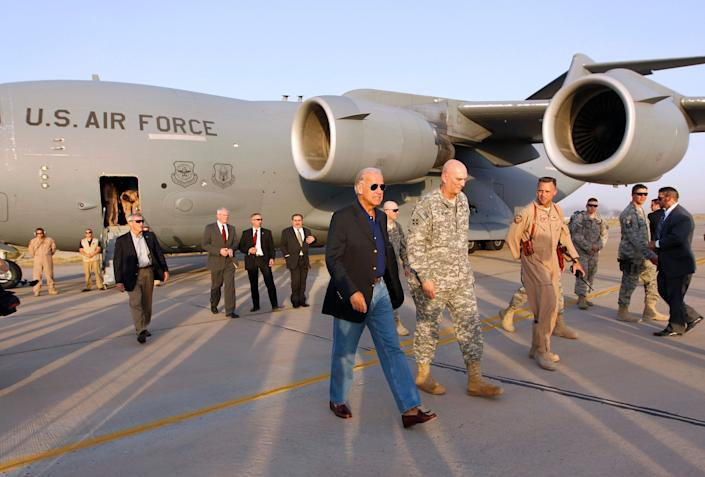 U.S. Vice President Joe Biden arrives in Baghdad, August 30, 2010. Biden arrived in Iraq on Monday as U.S. troops prepared to end combat operations on Tuesday. Biden was expected to hold talks with Iraqi leaders during a period of political deadlock, almost six months after an inconclusive election in March, over forming the country's next government.