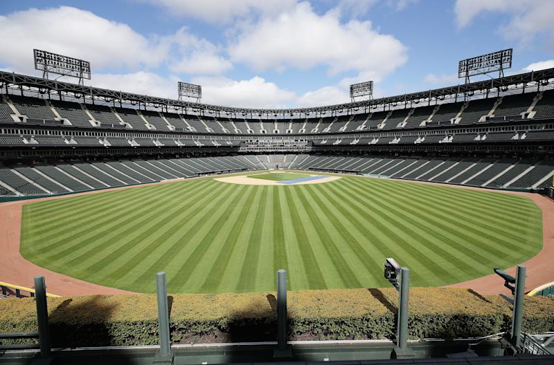 CHICAGO, ILLINOIS - MAY 08: A general view of Guaranteed Rate Feld, home of the Chicago White Sox, on May 08, 2020 in Chicago, Illinois. The 2020 Major League Baseball season is on hold due to the COVID-19 pandemic. (Photo by Jonathan Daniel/Getty Images)