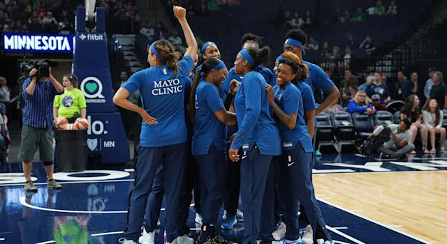 The New York Liberty huddles before a game against the Minnesota Lynx at Target Center earlier this month. (Photo by Jordan Johnson/NBAE via Getty Images)