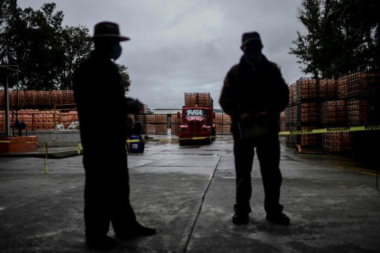 Members of Mexico's indigenous communities guard a bottling plant they have occupied in the central state of Puebla (AFP/PEDRO PARDO)