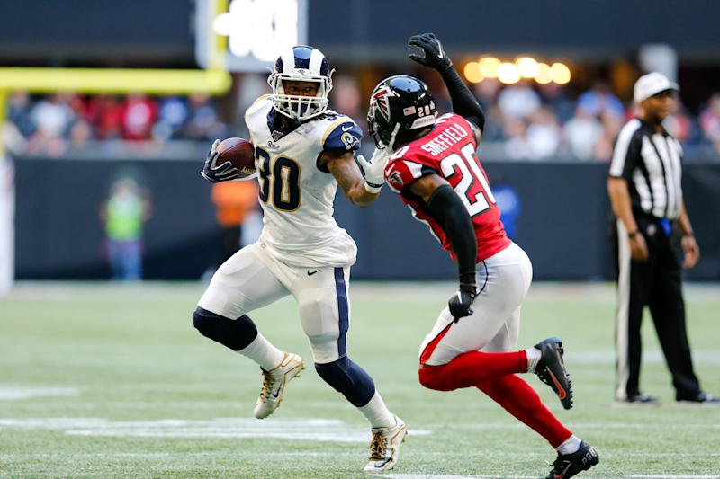 ATLANTA, GA - OCTOBER 20: Los Angeles Rams running back Todd Gurley (30) runs the ball for a gain during an NFL football game between the Los Angeles Rams and the Atlanta Falcons on October 20, 2019, at the Mercedes-Benz Stadium in Atlanta, GA. (Photo by Jordon Kelly/Icon Sportswire via Getty Images)