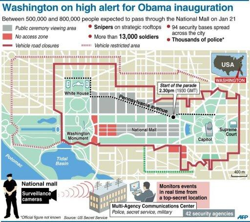 <p>Security measures in place for January 21. There has been an immense security build-up ahead of the inauguration, with cameras and barricades covering much of the route leading up to the Capitol. Thousands of police will also fan the area, several at each street corner.</p>