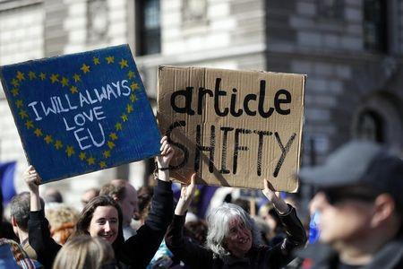 Thousands take to streets to protest Brexit plan