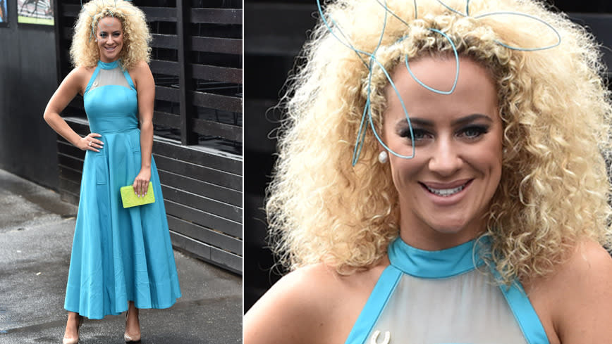 <p>'My Kitchen Rules' contestant Ash Pollard seemed a little blue at the event. Not sure why though, she looked pretty gorgeous.</p>