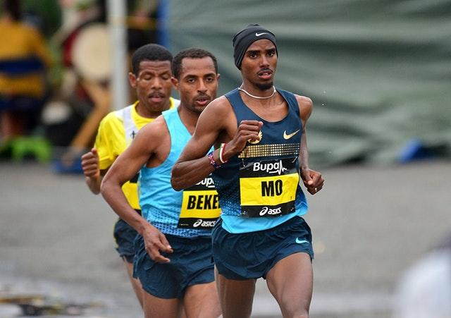 Farah leads Bekele and Gebrselassie during the 2013 Great North Run
