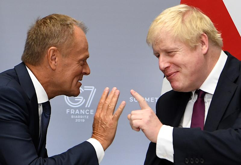 Prime Minister Boris Johnson meets European Council President Donald Tusk for bilateral talks during the G7 summit in Biarritz, France.