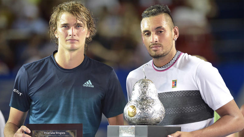 Alexander Zverev (pictured left) posing with the winner Nick Kyrgios (pictured right) after his win.